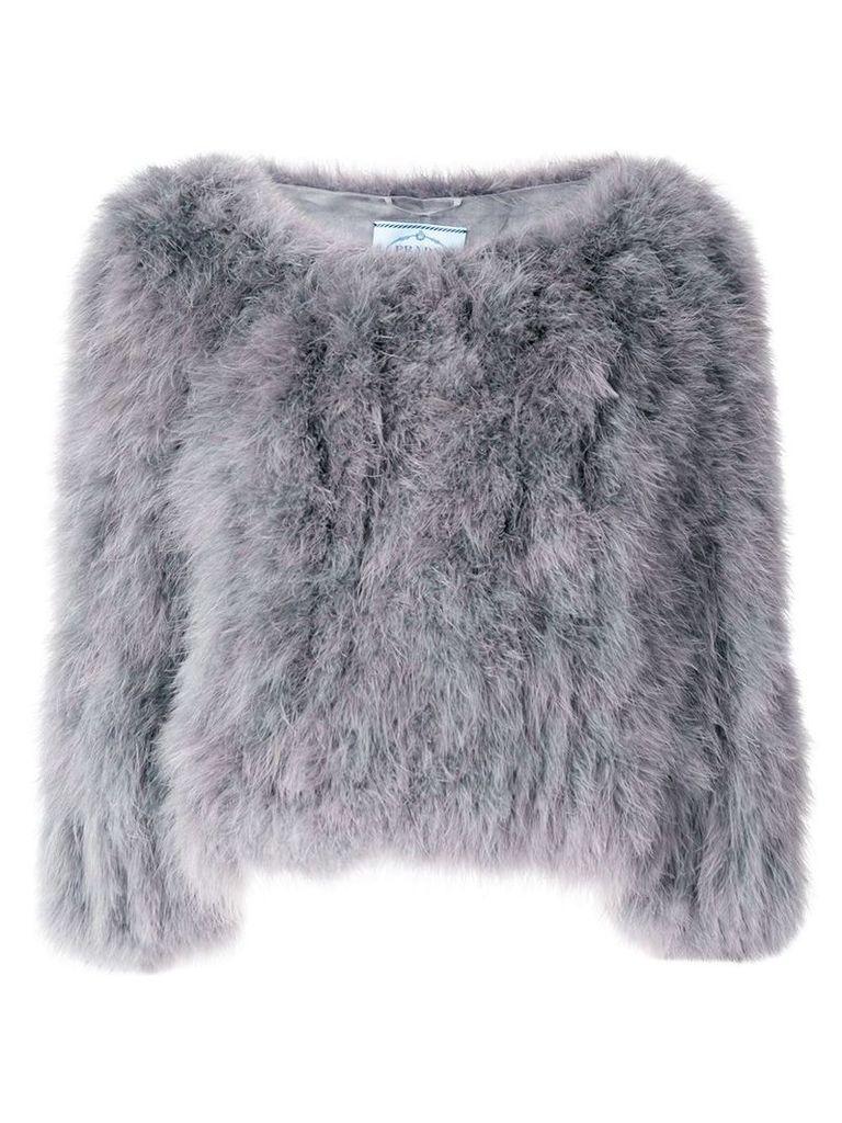 Prada cropped feather jacket - Grey