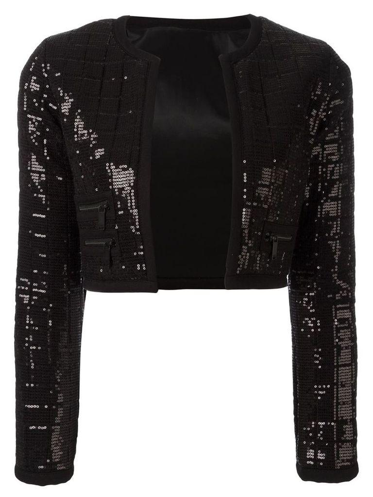 Karl Lagerfeld sequinned cropped jacket - Black
