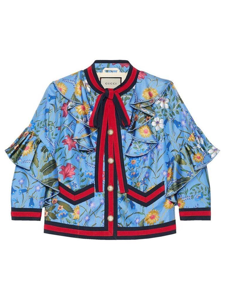 Gucci New flora silk jacket - Blue