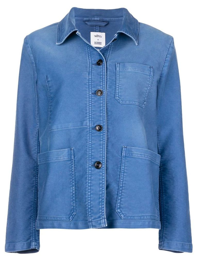 Closed button shirt jacket - Blue