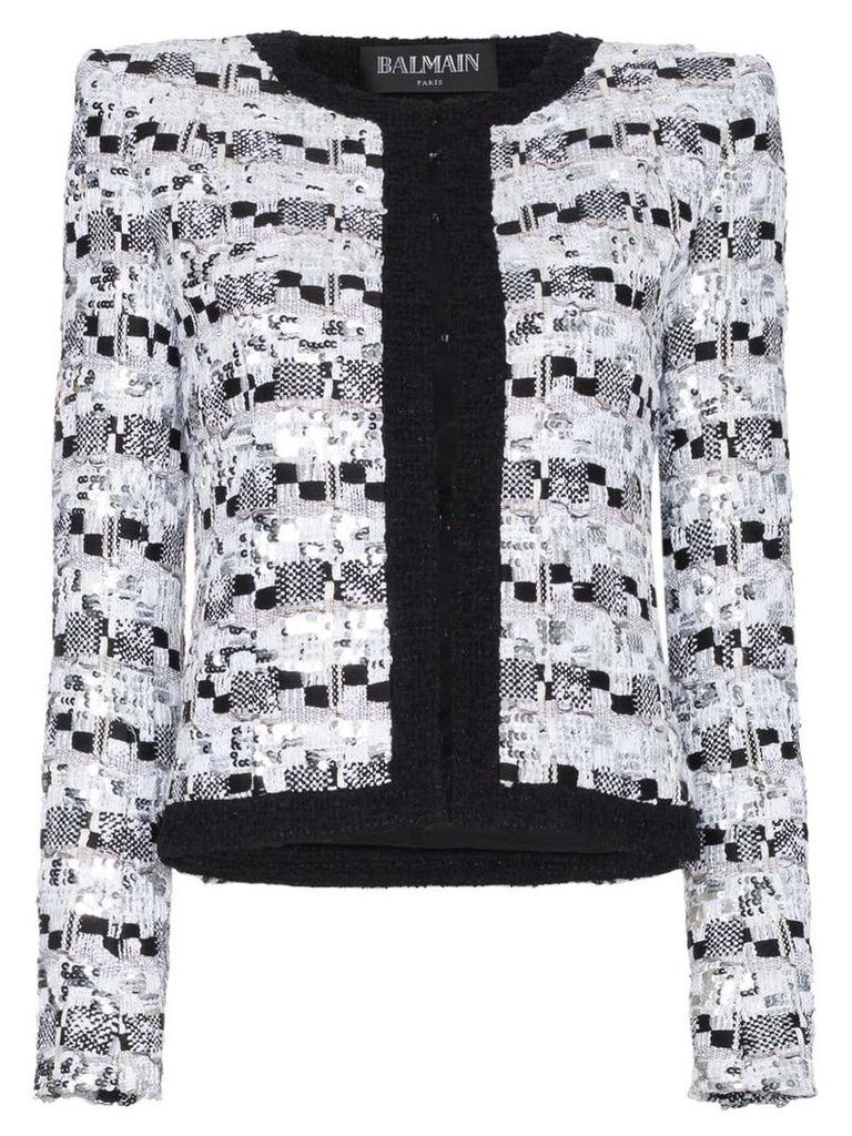 Balmain sequin embellished cotton blend jacket - White