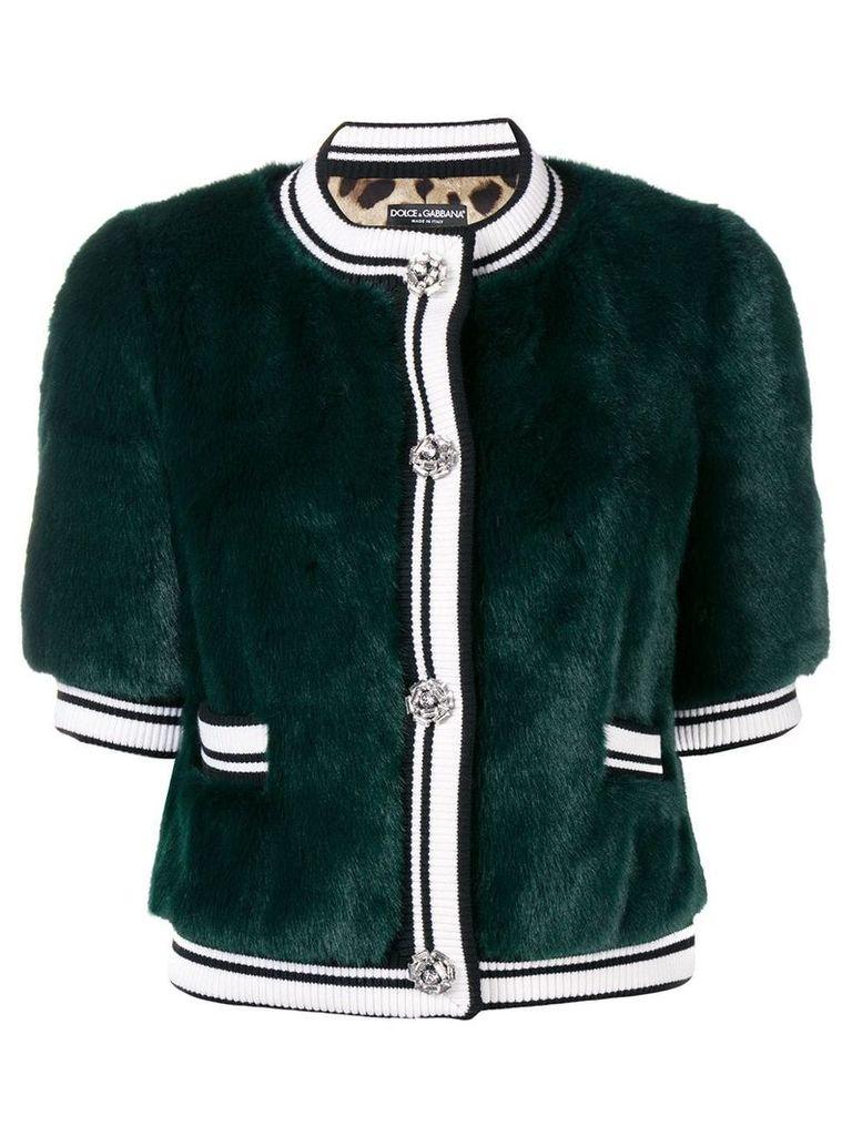 Dolce & Gabbana faux fur cropped jacket - Green