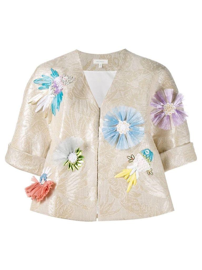 Delpozo appliquéd floral jacquard jacket - Nude & Neutrals