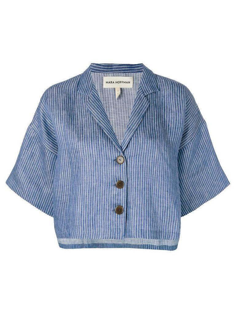 Mara Hoffman striped button jacket - Blue