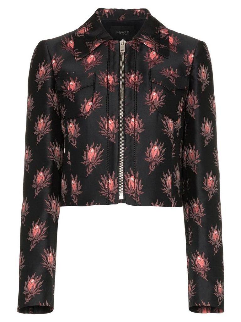 Giambattista Valli floral print cropped jacket - Black