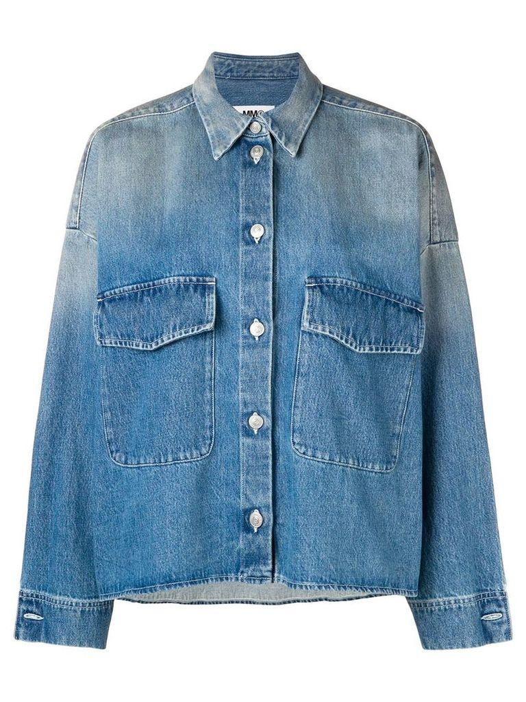 Mm6 Maison Margiela washed oversized denim jacket - Blue