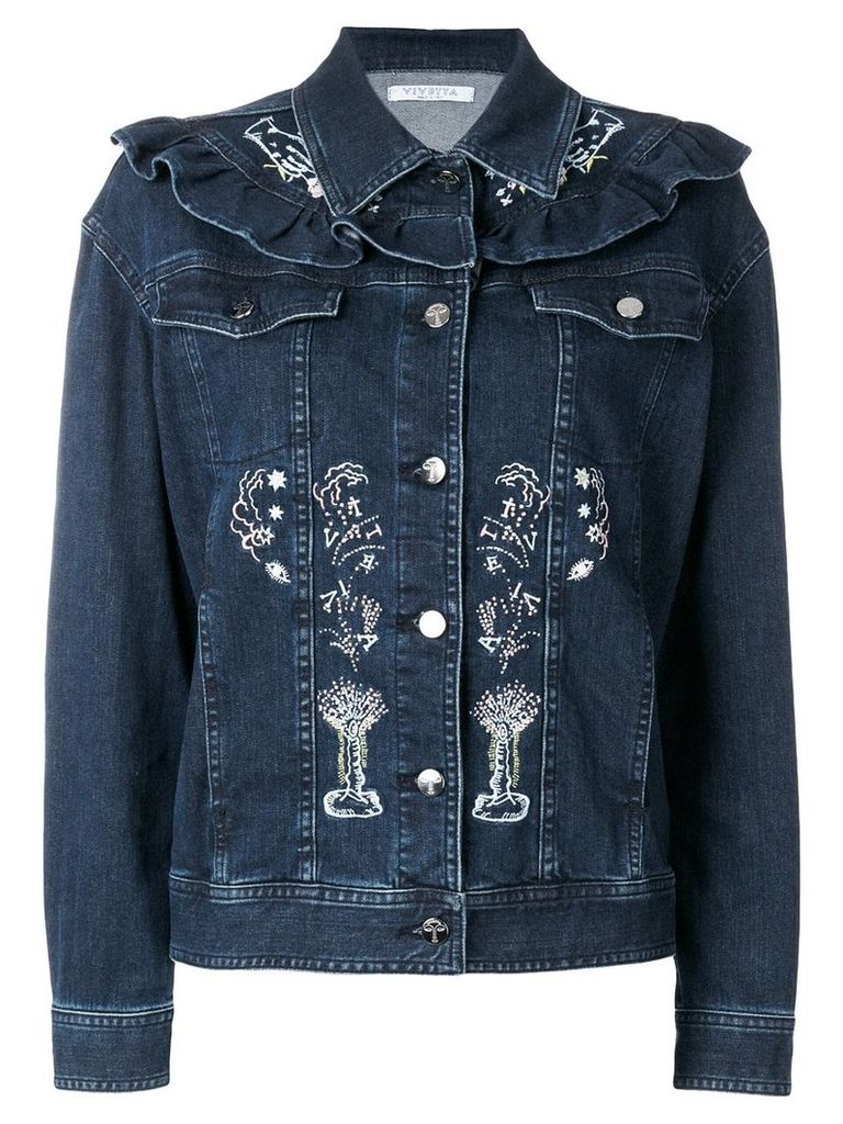 Vivetta embroidered denim jacket - Blue