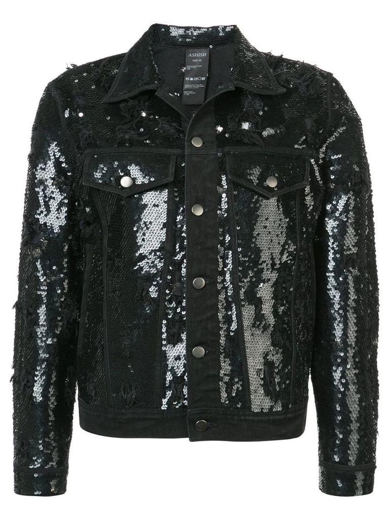 Ashish sequinned distressed denim jacket - Black
