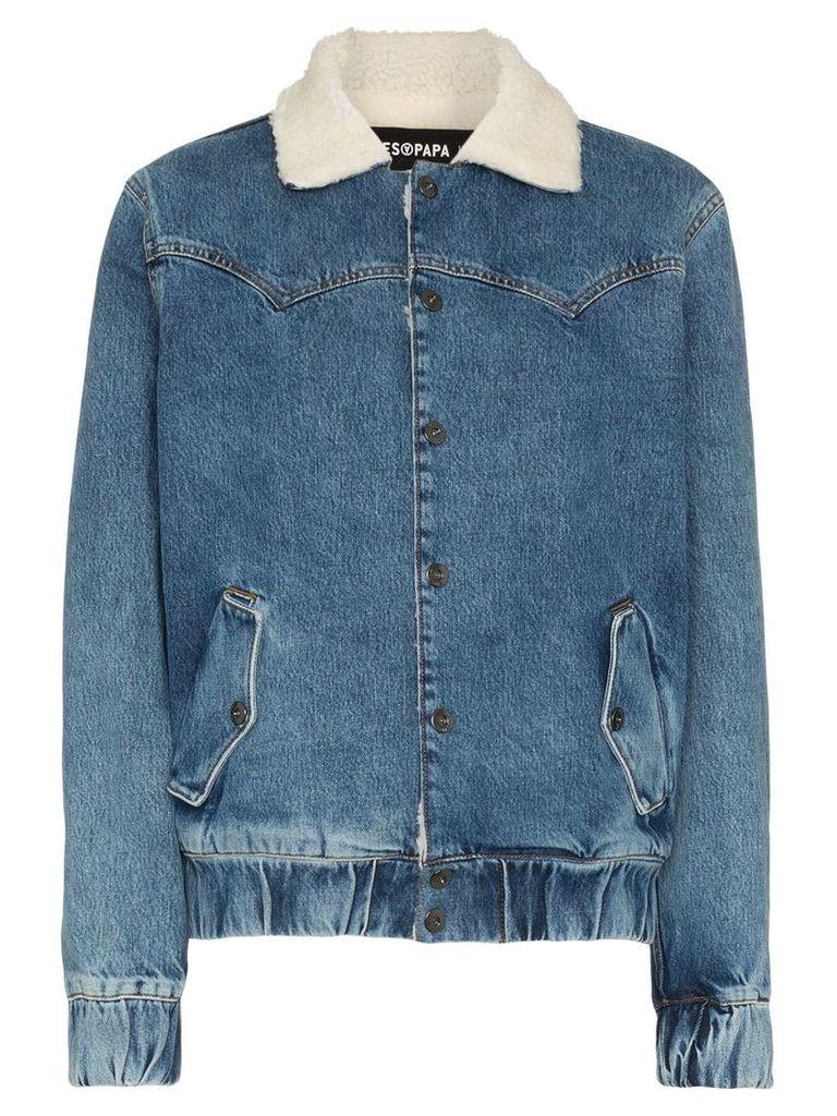 Filles A Papa Janis faux shearling collar denim jacket - Blue
