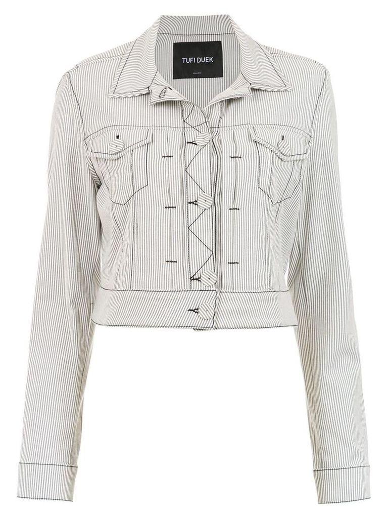 Tufi Duek striped denim jacket - White