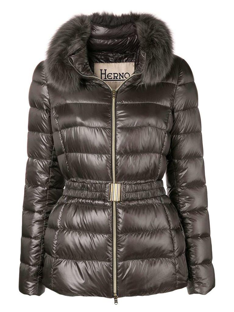 Herno fur hood puffer jacket - Grey