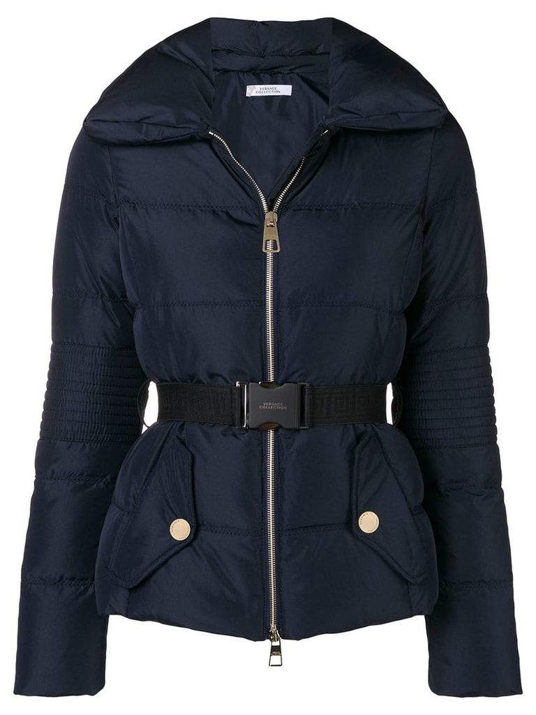 Versace Collection belted padded jacket - Blue
