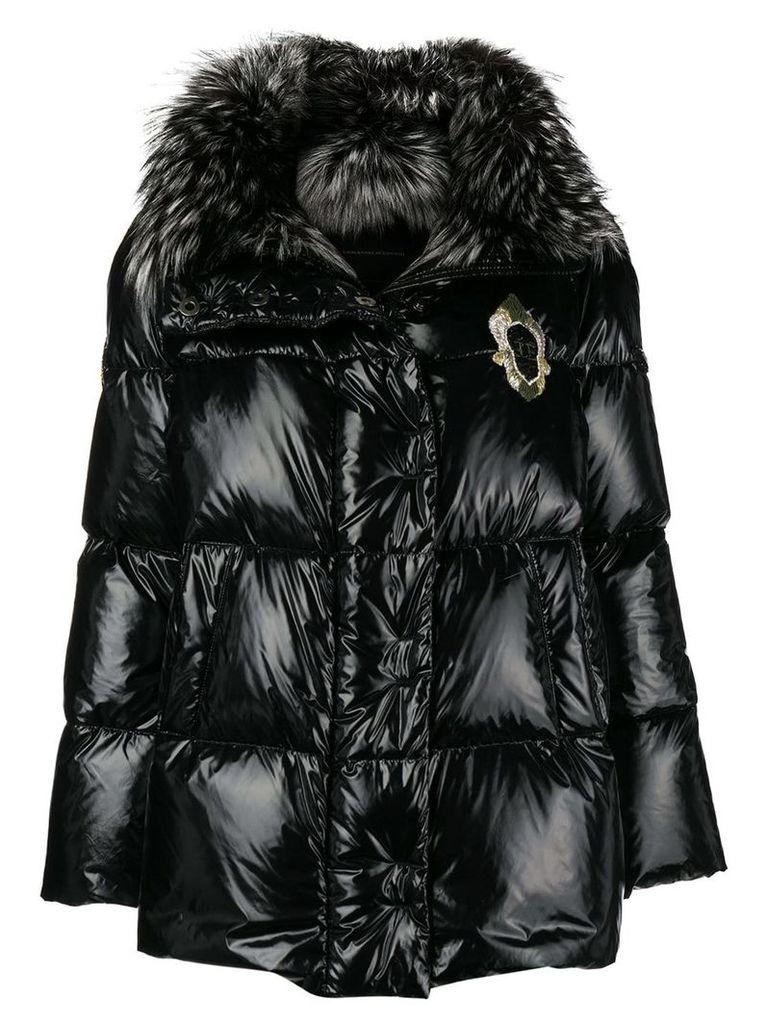 Ermanno Scervino fur collar padded jacket - Black