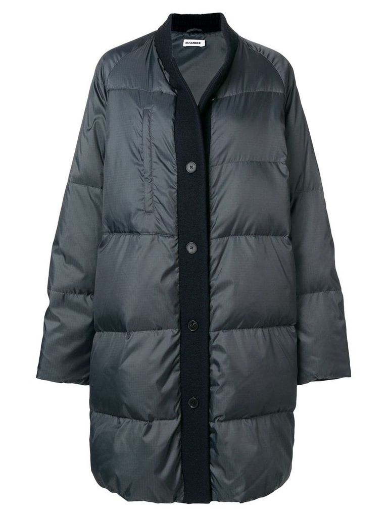 Jil Sander wool trim puffer jacket - Grey