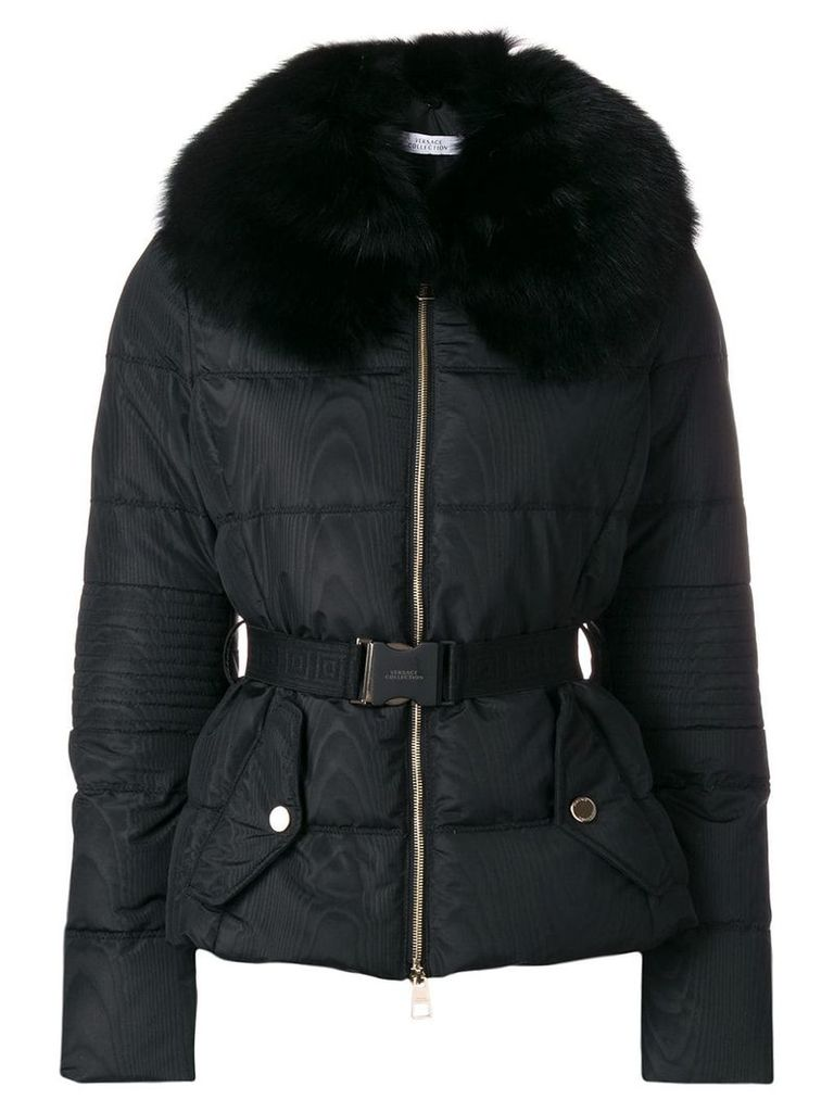 Versace Collection belted padded jacket - Black