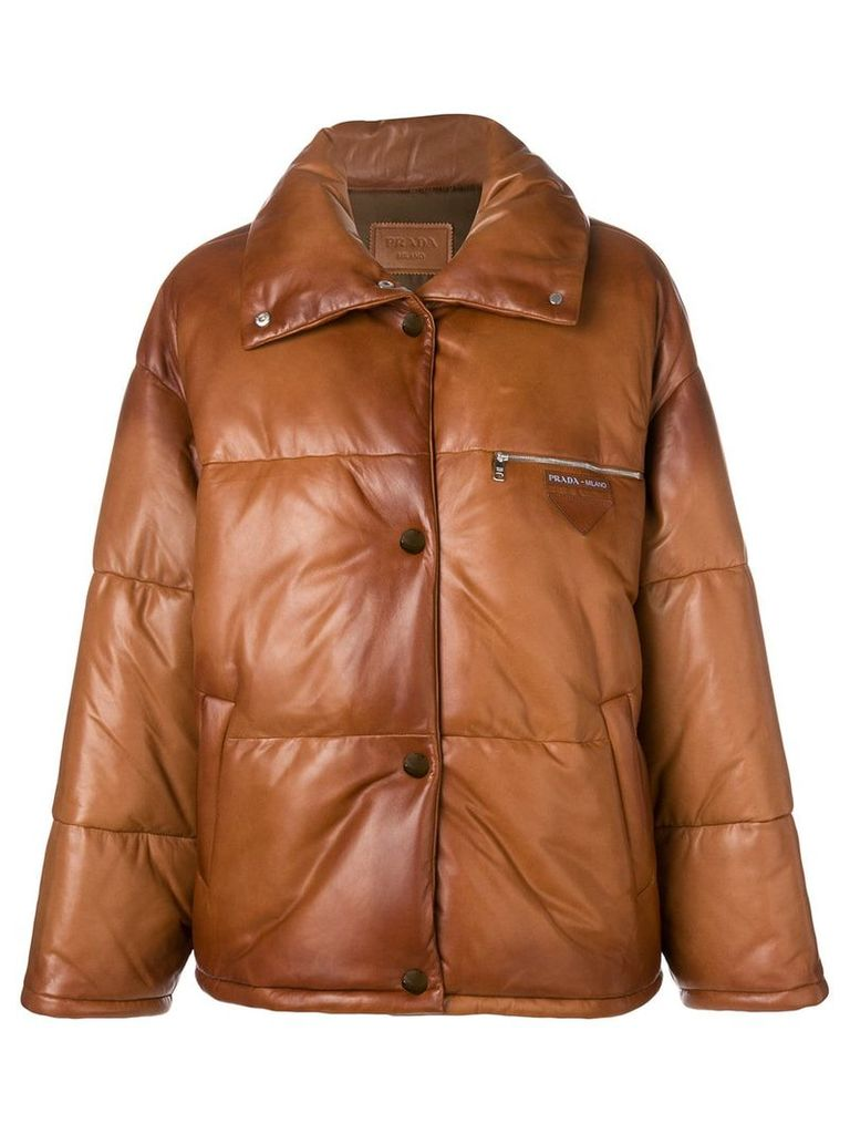 Prada logo embossed puffer jacket - Brown