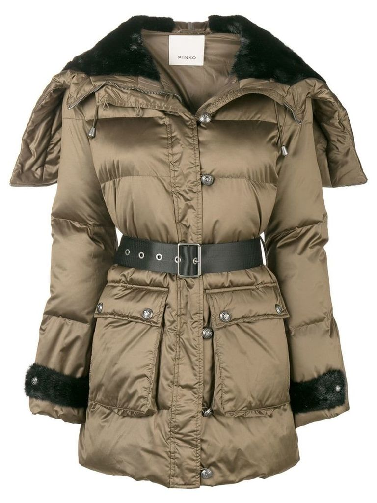Pinko belted padded jacket - Brown