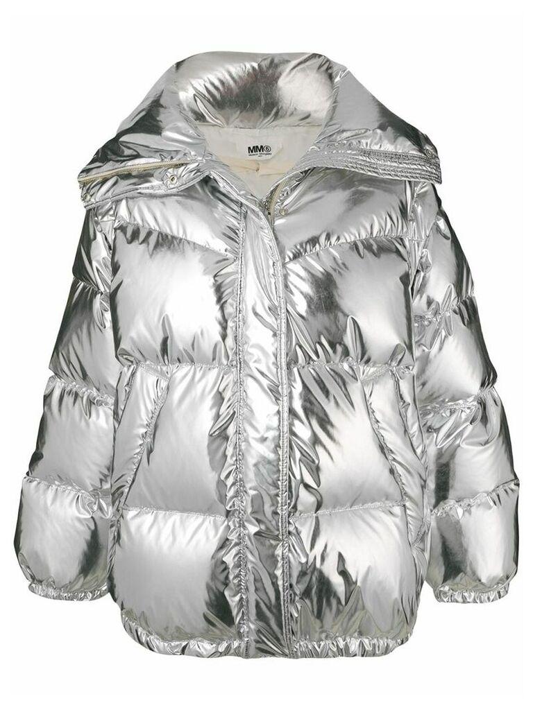 Mm6 Maison Margiela oversized reflective puffer jacket - Grey