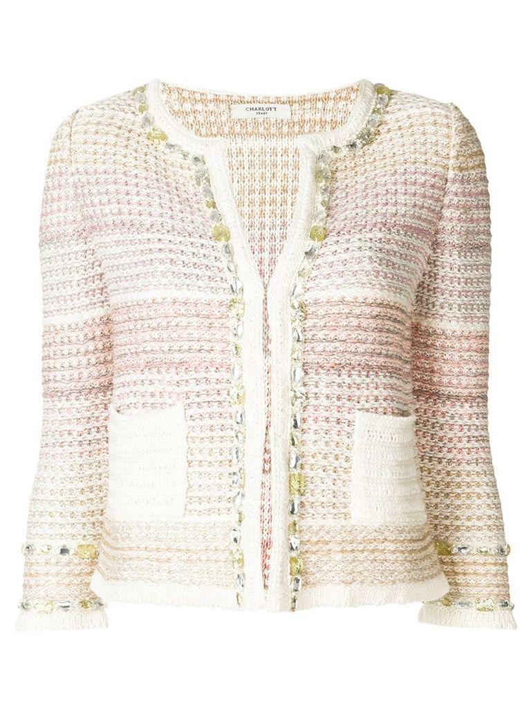 Charlott fitted knit jacket - Pink & Purple
