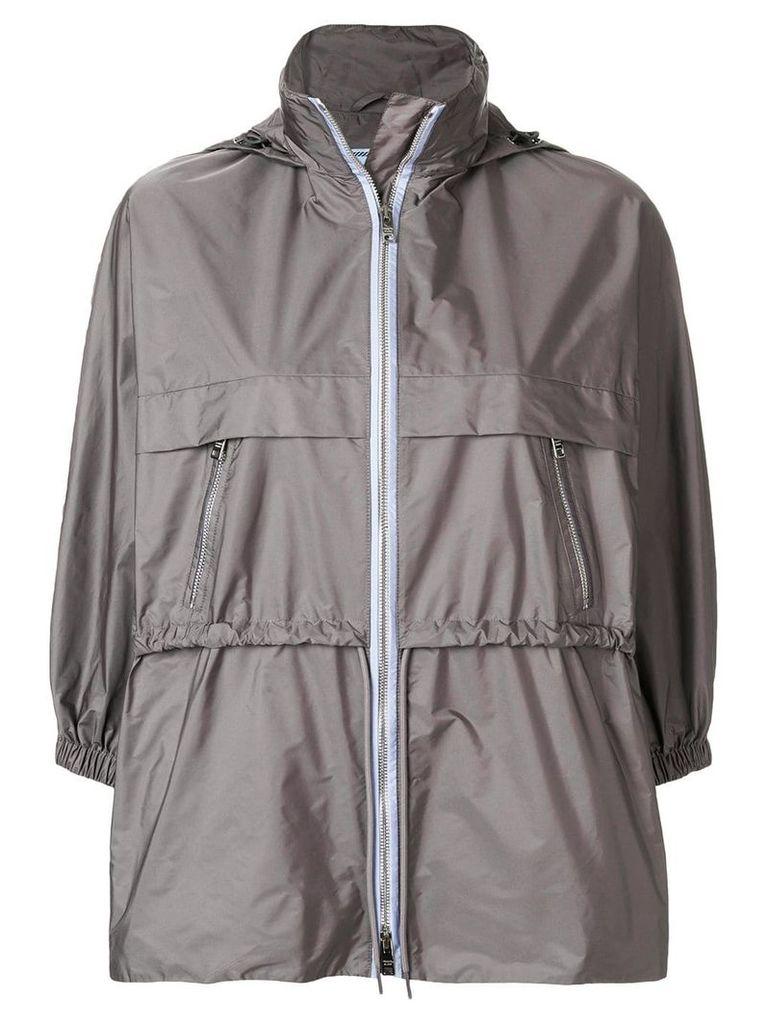 Prada funnel neck nylon jacket - Grey