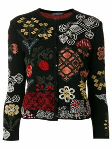 Alexander McQueen floral patch cardigan - Black