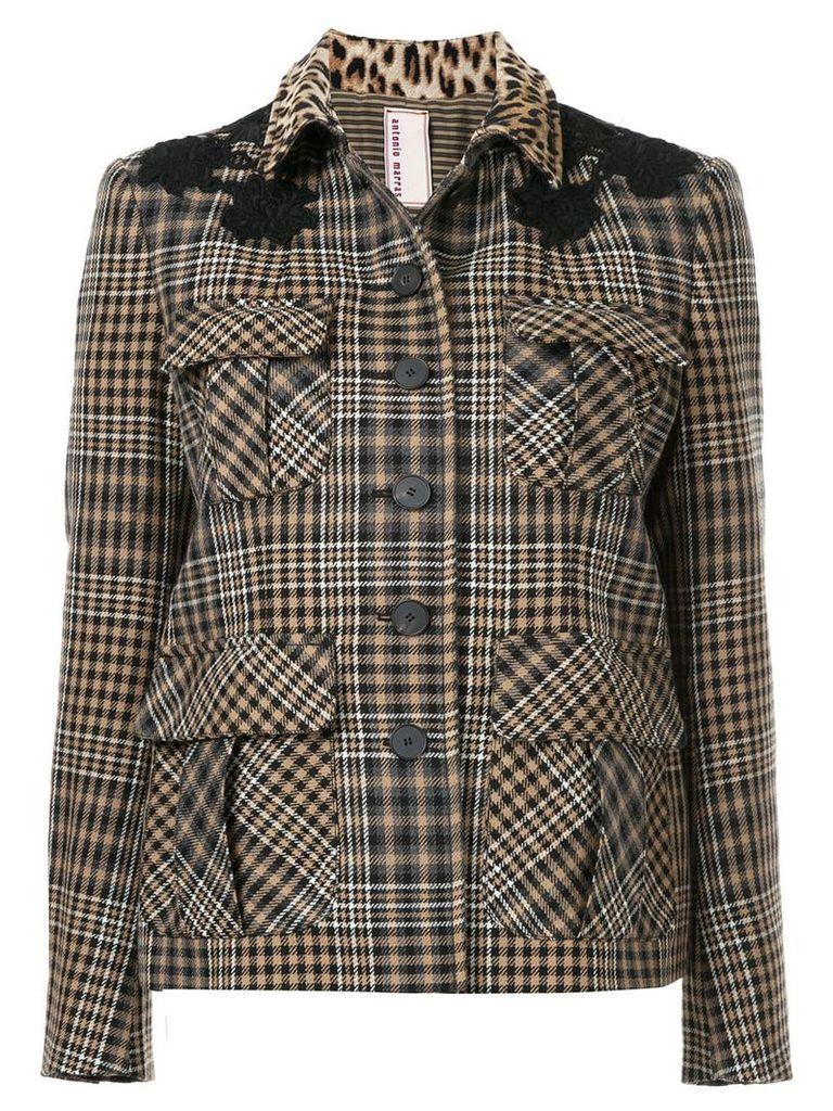 Antonio Marras contrast collar check jacket - Brown