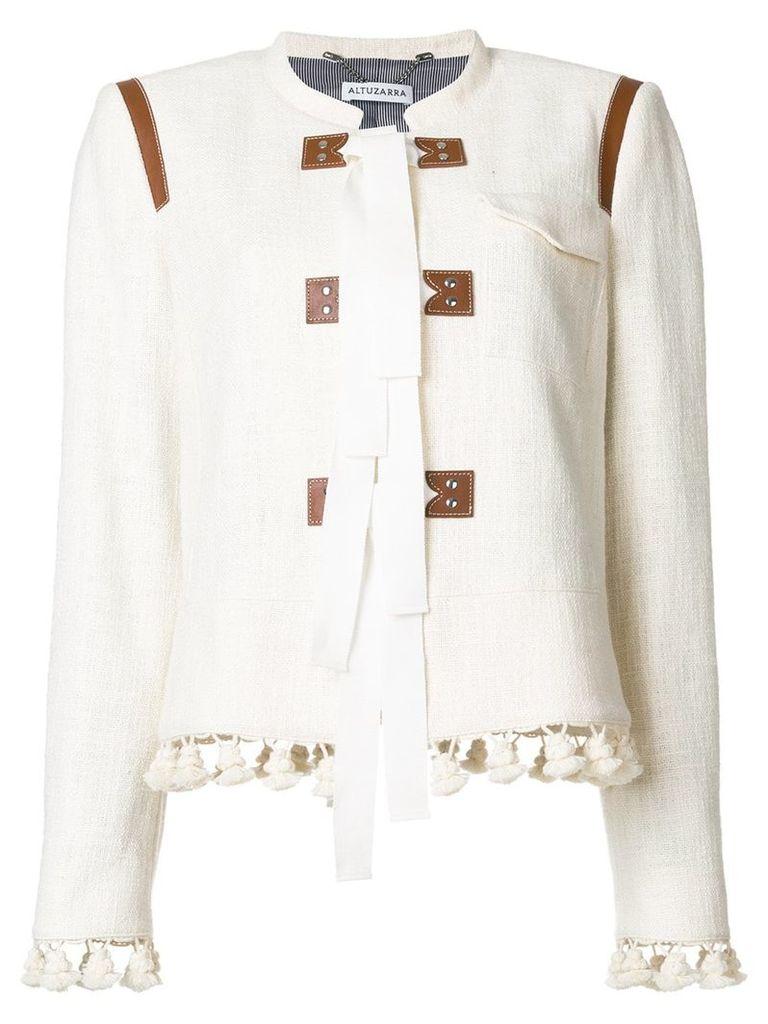 Altuzarra tassel trim jacket with tie fastening - Nude & Neutrals