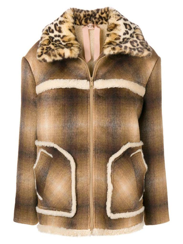 No21 faux fur collar jacket - Brown