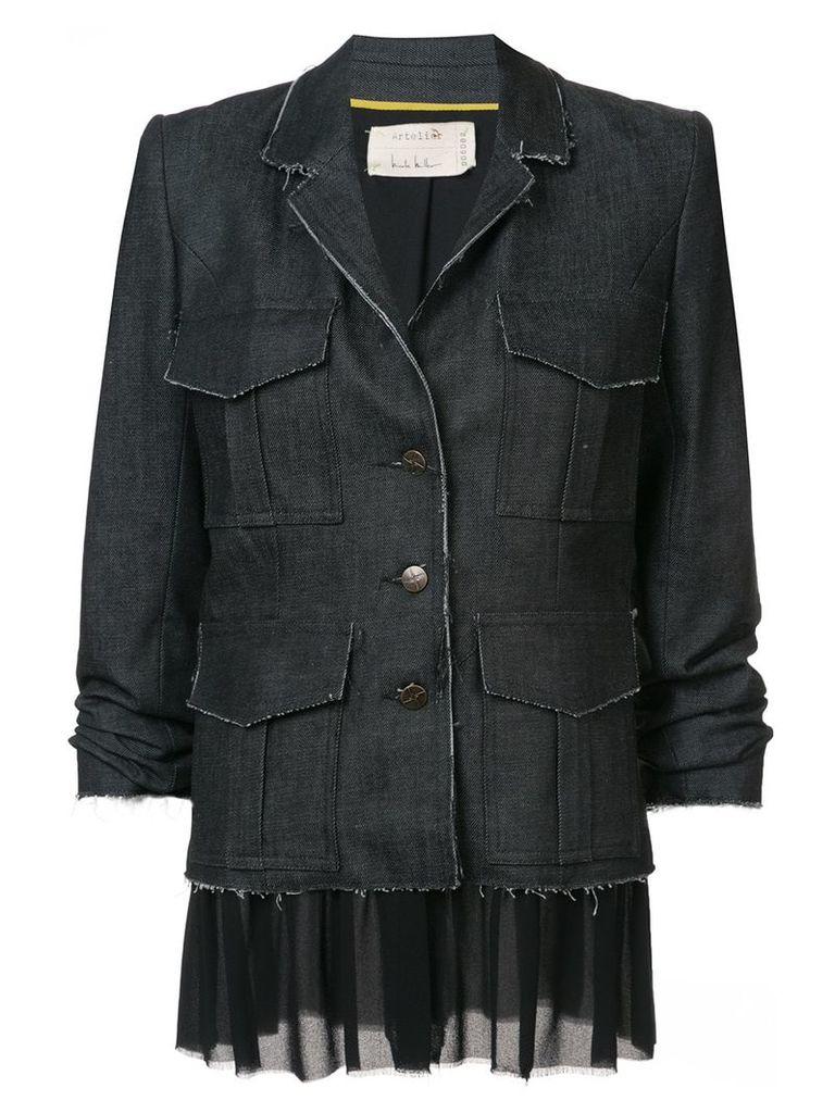 Nicole Miller multi-pocket button jacket - Blue