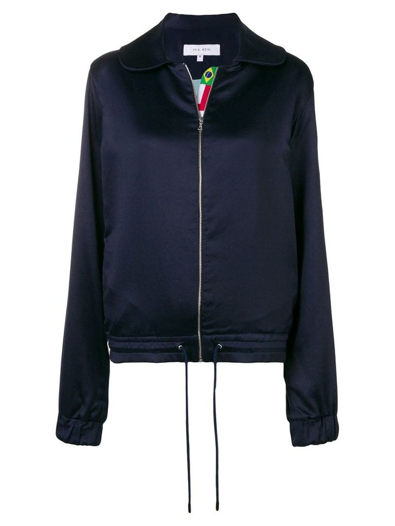 Kris Goyri flags stripe zipped jacket - Blue