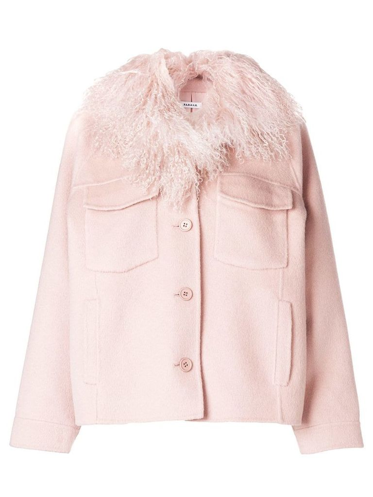 P.A.R.O.S.H. fur collar buttoned jacket - Pink & Purple