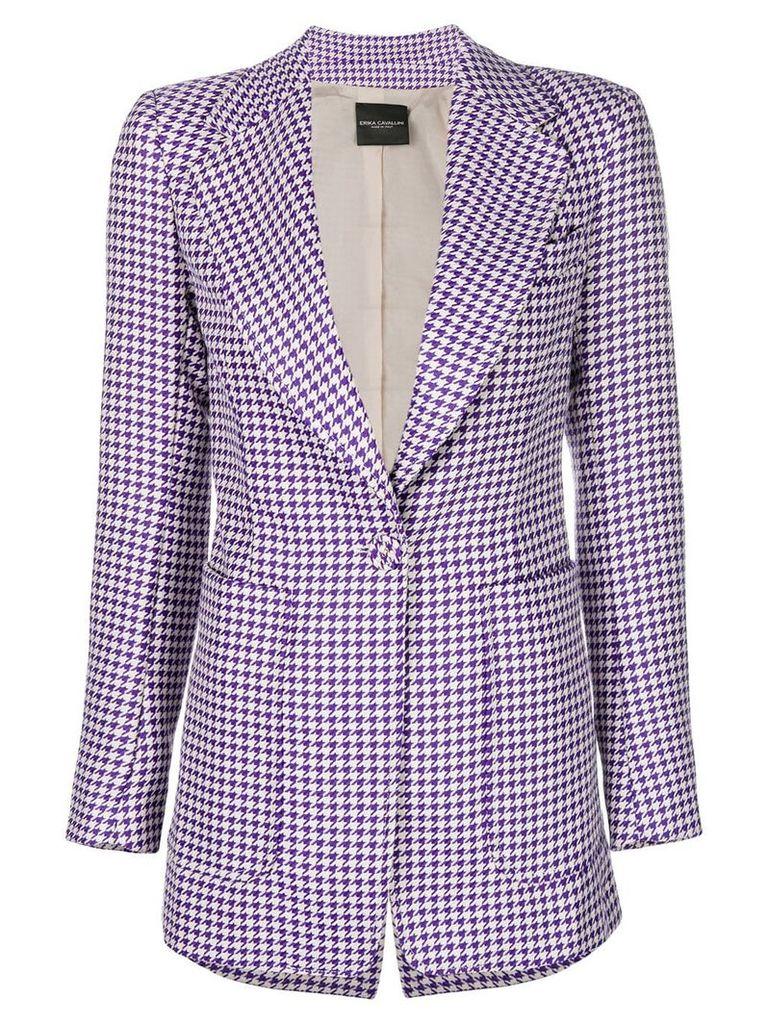 Erika Cavallini Houndstooth print jacket - Pink & Purple