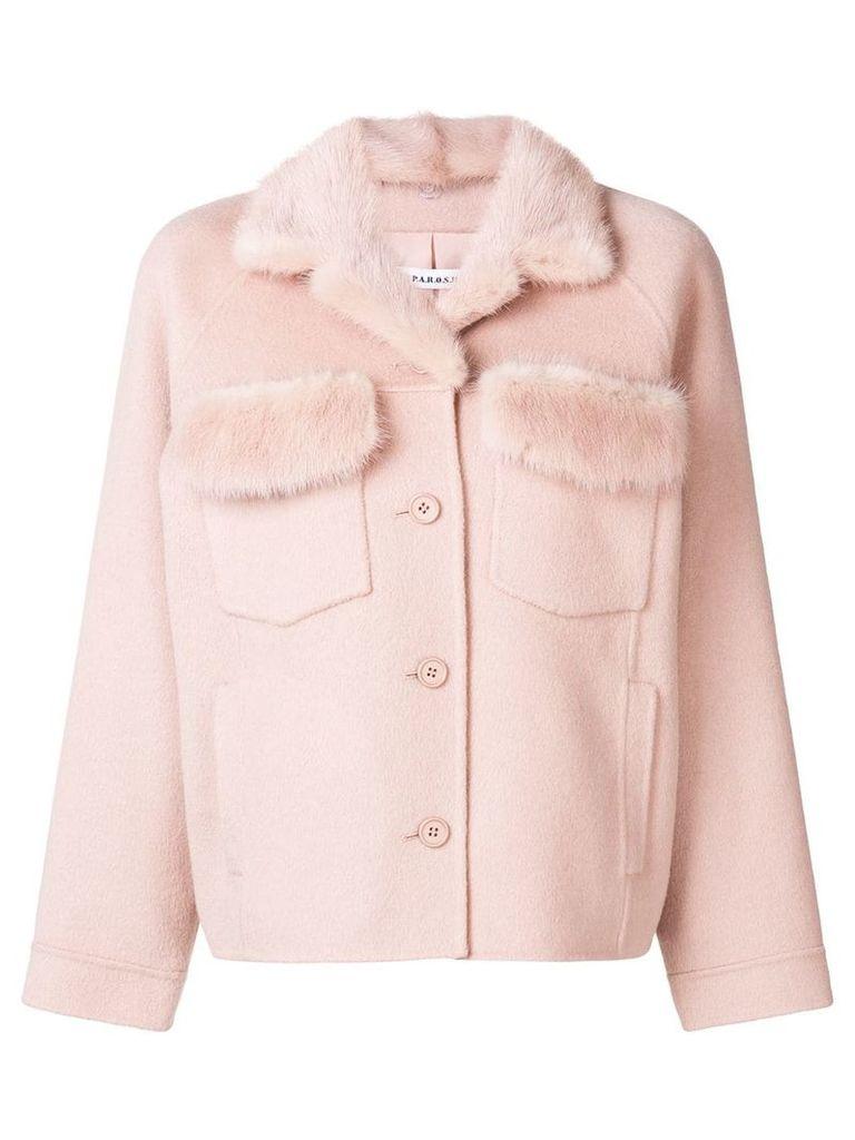 P.A.R.O.S.H. fur detail buttoned jacket - Pink & Purple