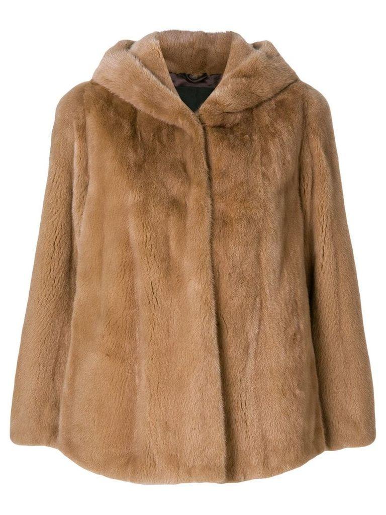 Liska hooded fur jacket - Brown