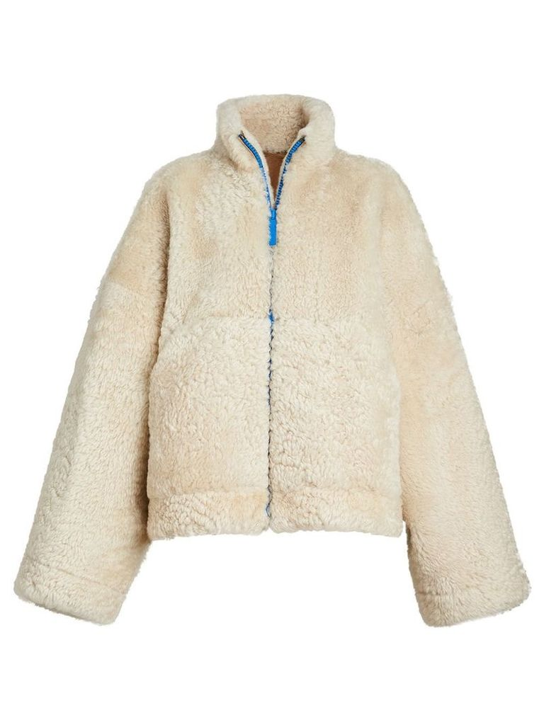 Burberry Contrast Zip Shearling Funnel-neck Jacket - White
