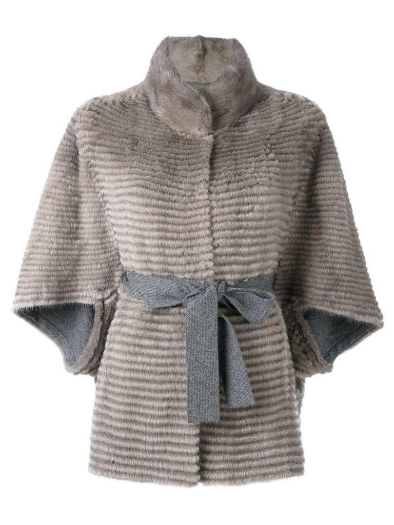 Liska belted fur jacket - Nude & Neutrals