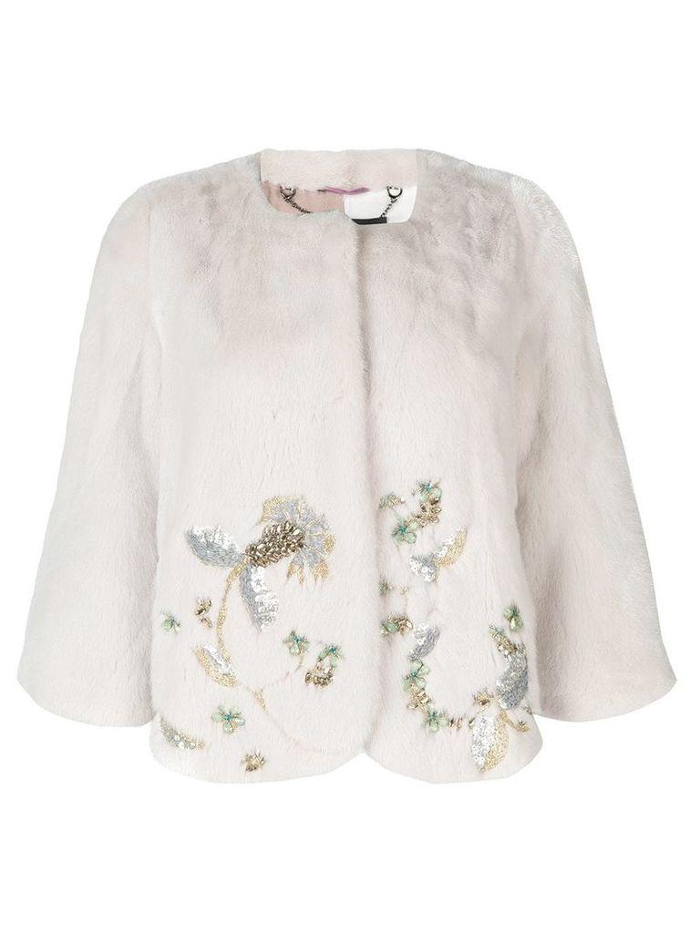 Cara Mila Jasmine Embellished Mink Jacket - White