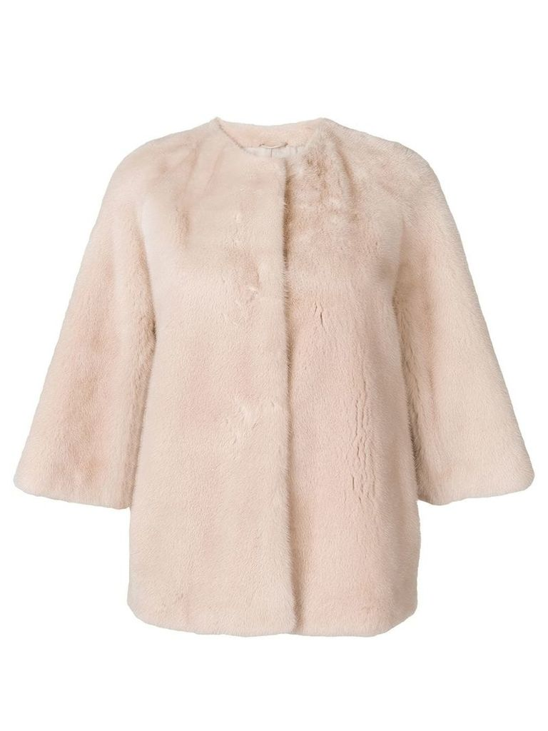 Yves Salomon short fur jacket - Pink & Purple