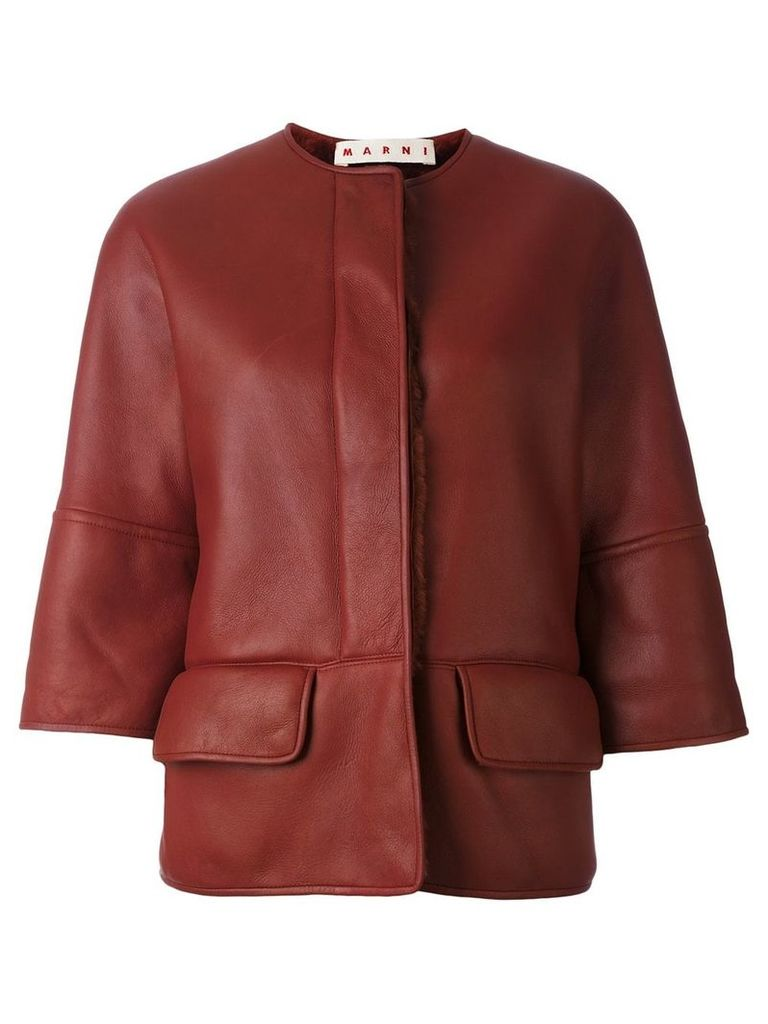 Marni shearling lined jacket - Red