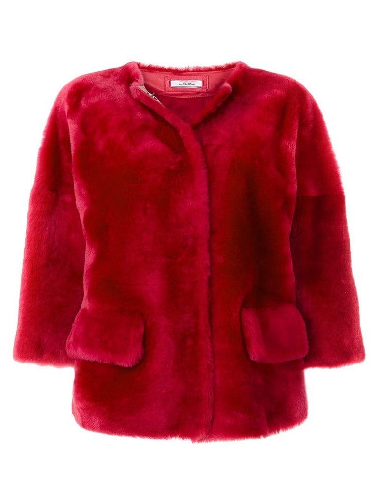 Desa 1972 fur cropped sleeve jacket - Pink & Purple