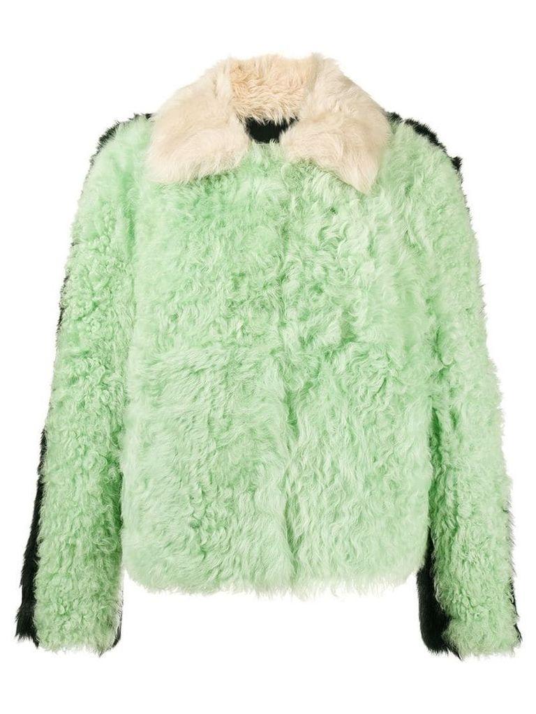 Sandy Liang Cashew colour block shearling boxy jacket - Multicolour