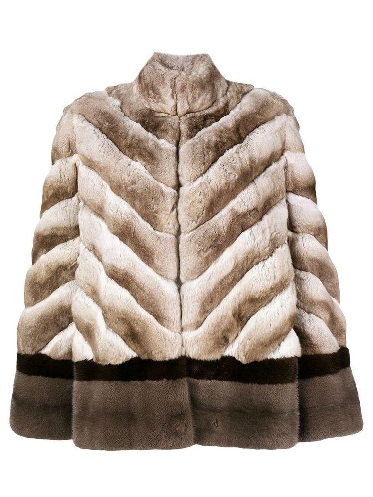 Liska chevron fur jacket - Brown
