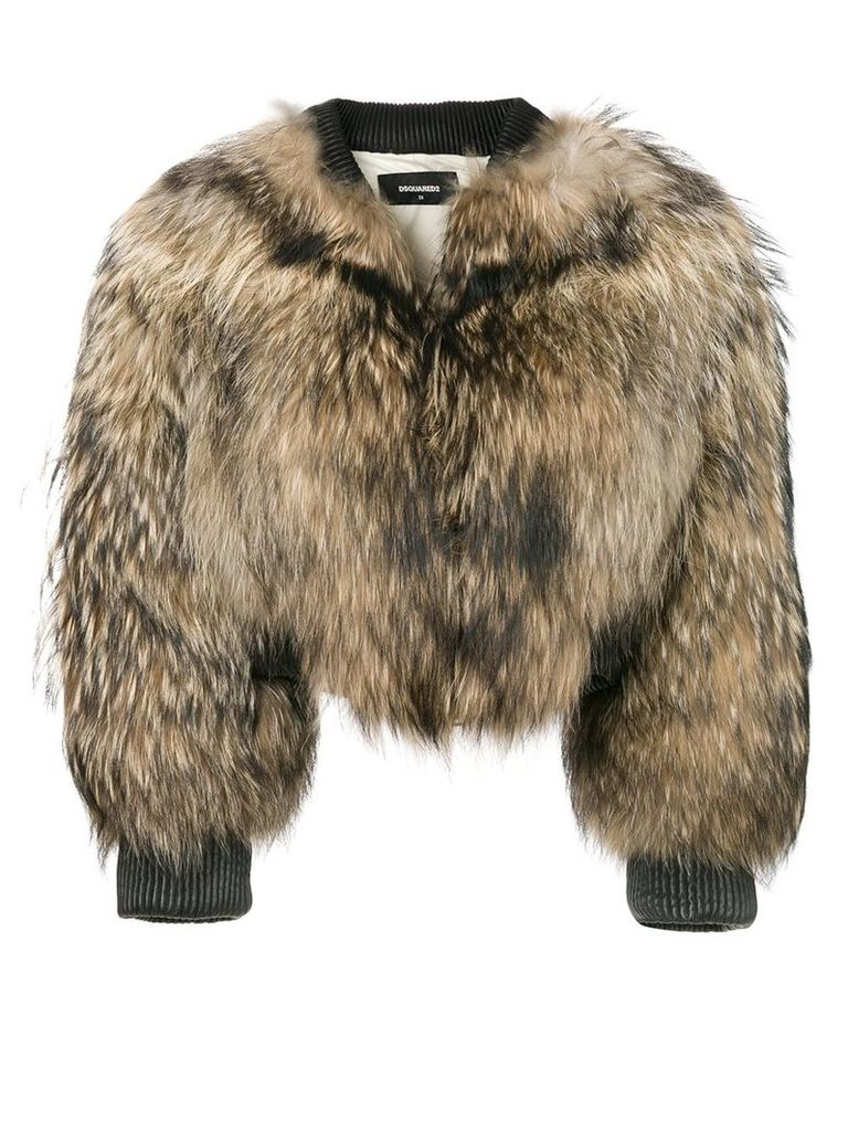Dsquared2 racoon fur bomber jacket - Brown