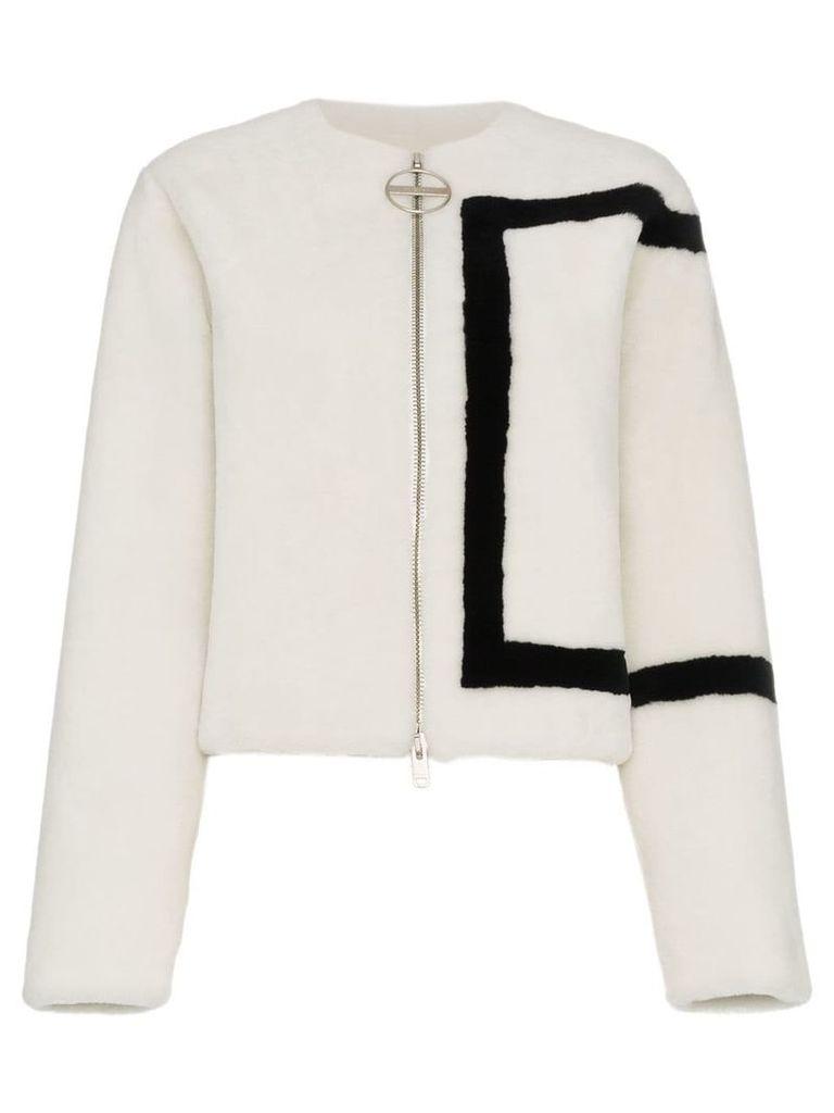 Givenchy border print shearling jacket - White