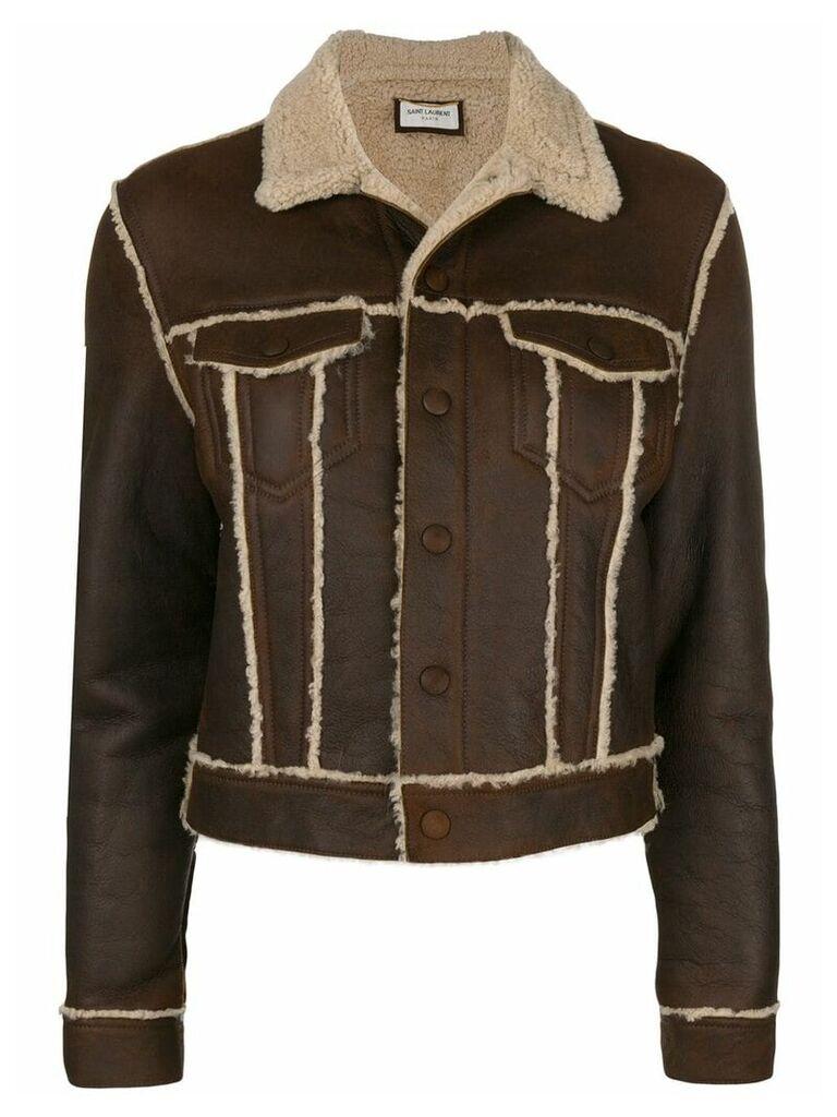 Saint Laurent cropped shearling jacket - Brown