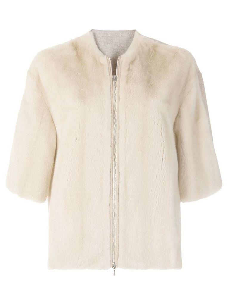 Liska zipped fur jacket - Nude & Neutrals
