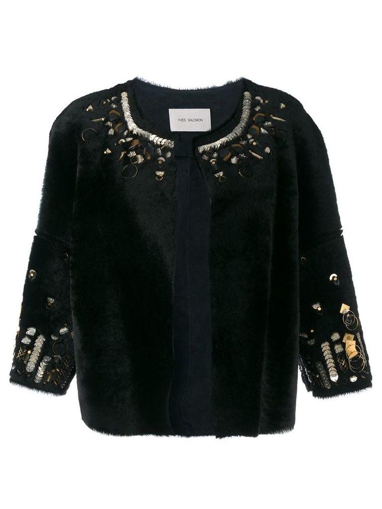 Yves Salomon bordered jacket - Black