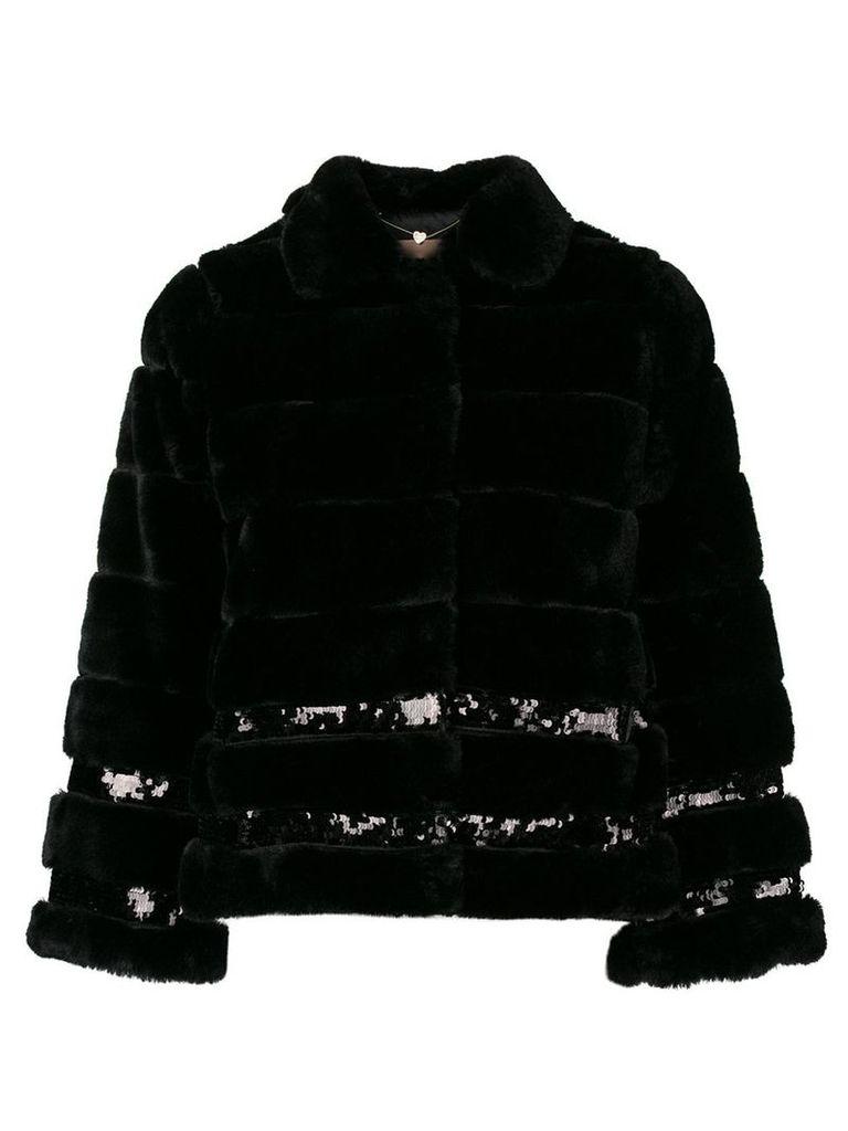 Twin-Set sequin embellished faux fur jacket - Black