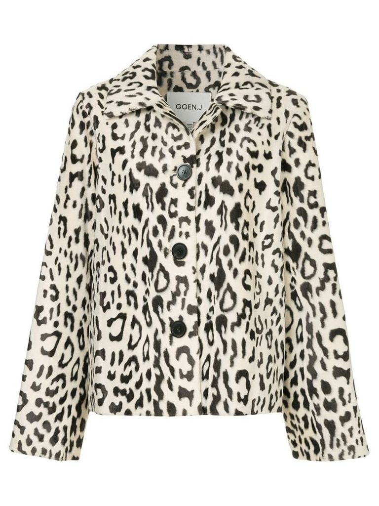 Goen.J leopard print faux-fur jacket - White