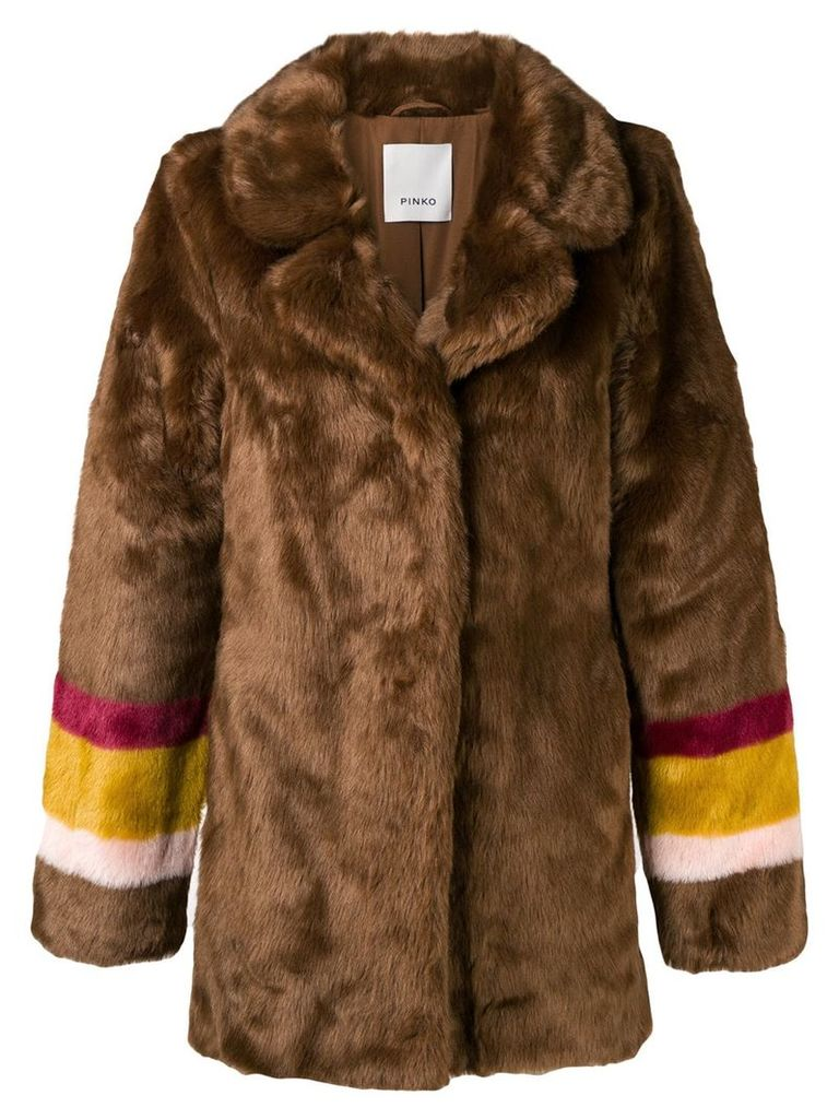 Pinko striped sleeves fur jacket - Brown